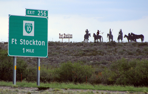 Exit 256 Sign For Ft Stockton On I 10 With Silouettes On Hill