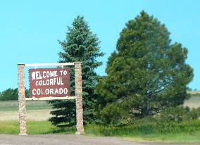 Colorado welcome sign on I-70 at the Kansas border